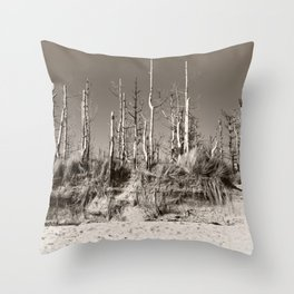Dead Trees On The Beach Throw Pillow