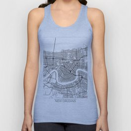 New Orleans Map White Unisex Tank Top