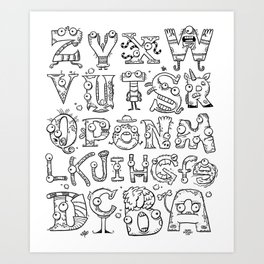 Backward Alphabet Art Print