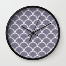 Large lilac gray scallops with fractal texture Wall Clock