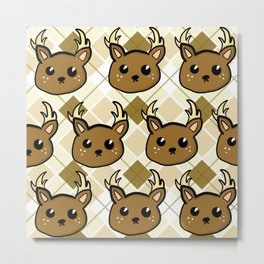 Deer and Argyle Metal Print
