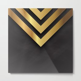 Back and gold geometric design Metal Print
