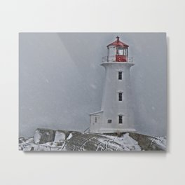 Peggy's Point Lighthouse Snowstorm Metal Print
