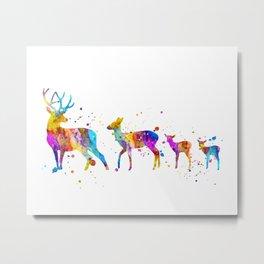 Watercolor Deer Family Metal Print