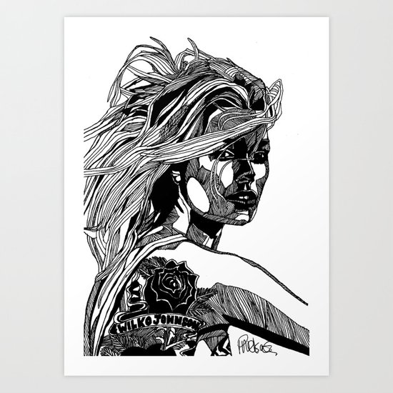 B&W Fashion Illustration - Wilko Johnson Art Print