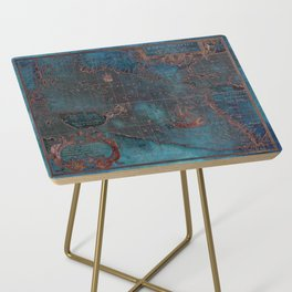 Antique Map Teal Blue and Copper Side Table