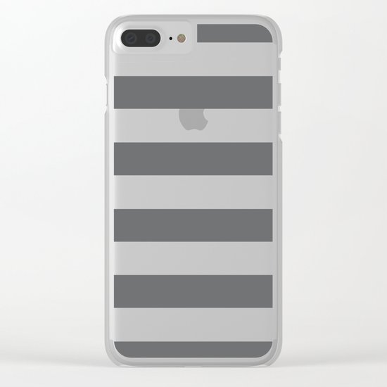 Simply Striped in Storm Gray and White Clear iPhone Case