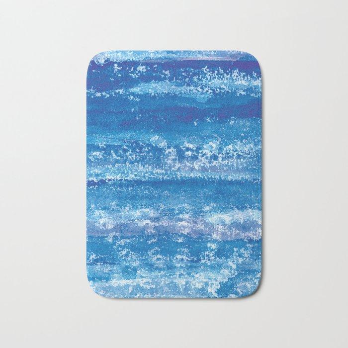 Blue Watercolor & Lace Water Print Bath Mat