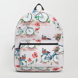 watercolor vintage bike, floral bicycle, summer bike ride Backpack