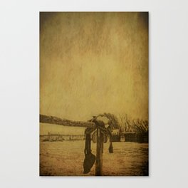 Saddle On The Hitching Post Canvas Print