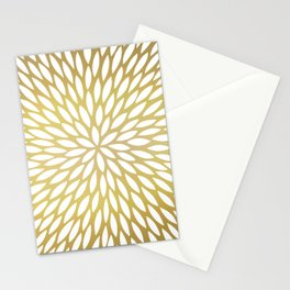 White Leaves on Gold Stationery Cards