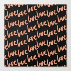 Valentines Day Rose Gold Love Word Typography Pattern on Black Canvas Print