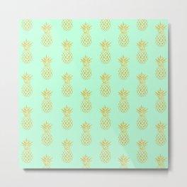 Golden Pineapples Metal Print