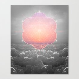 The Sun Is But A Morning Star (Mono Geometric Sunrise) Canvas Print