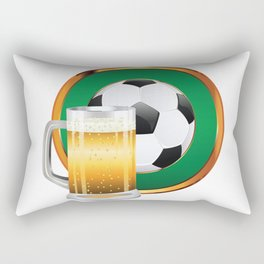 Beer and Soccer Ball in green circle Rectangular Pillow