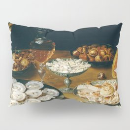Dishes with Oysters, Fruit, and Wine Pillow Sham