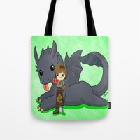 how to train your dragon Tote Bags featuring How to Train Your Dragon 2 by Mayying