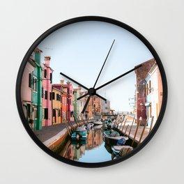 Colorful town Burano, Venice Italy - City Art Print Wall Clock
