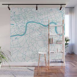 London White on Turquoise Street Map Wall Mural