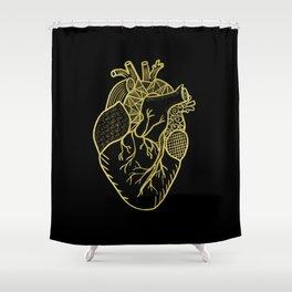 Designer Heart Gold Shower Curtain
