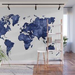 Dark navy blue watercolor world map Wall Mural