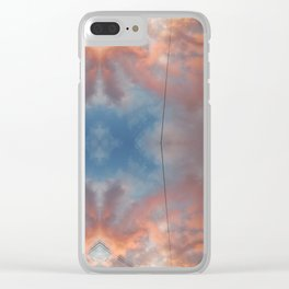 Cloudy sky at sunset reflections Clear iPhone Case