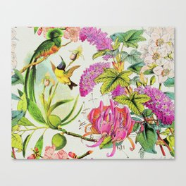 Vintage Bird Floral in Grainy Eggshell Canvas Print