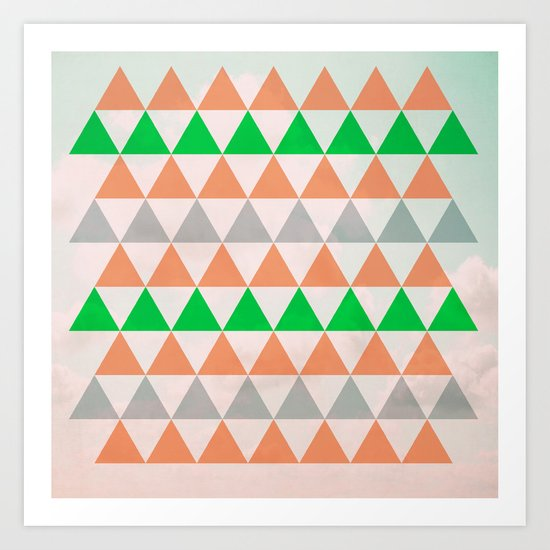 Fly in Pink / Colored Triangles Art Print