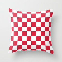 Red, Cherry: Checkered Pattern Throw Pillow