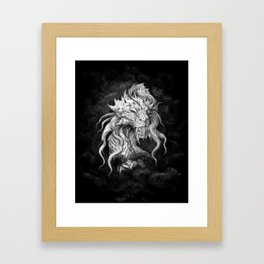 Dark Side Japanese Dragon portrait on black background | Graphit Framed Art Print