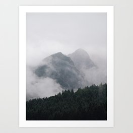 Minimalist Modern Photography Landscape Pine Forest Jagged High Grey Mountains Art Print