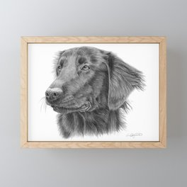 Flatcoated retriever bw Framed Mini Art Print