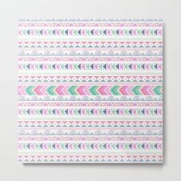 Pink teal blue boho ethnic aztec pattern Metal Print
