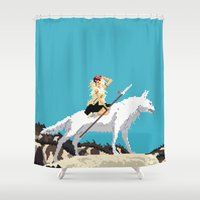 princess mononoke Shower Curtains featuring Princess Mononoke by 8-bit Ghibli