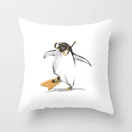 Penguin Is Ready To Dive Throw Pillow