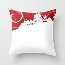 White Snowy House on Red Background Throw Pillow
