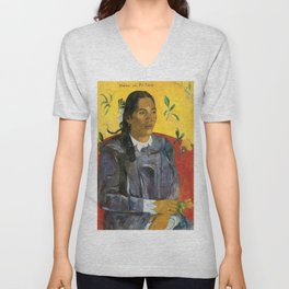 Tahitian Woman with a Flower by Paul Gauguin Unisex V-Neck