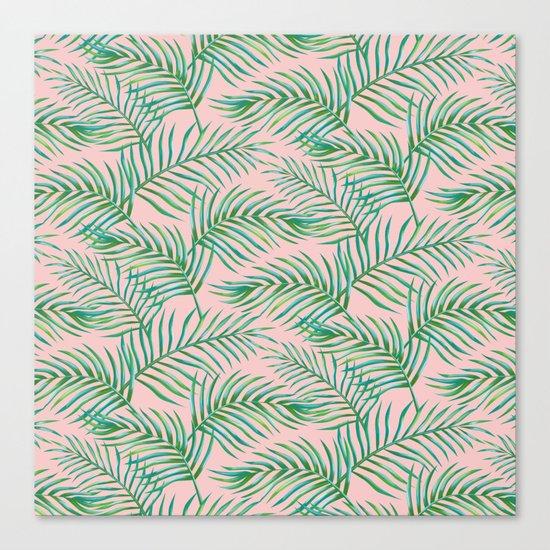 Palm Leaves_Bg Rose Quartz Canvas Print