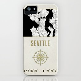 Seattle - Vintage Map and Location iPhone Case