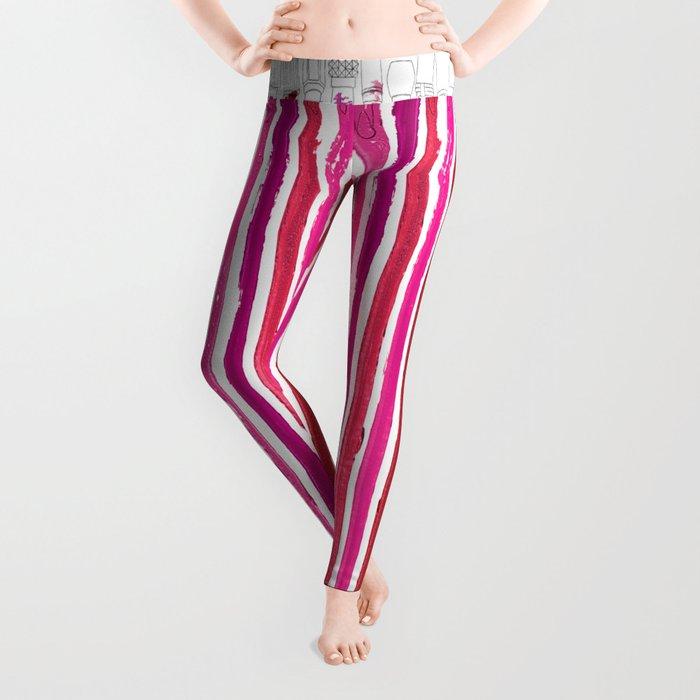 Lipstick Stripes - Floral Fuschia Red Leggings