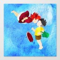 ponyo Canvas Prints featuring Ponyo and Sosuke by foreverwars