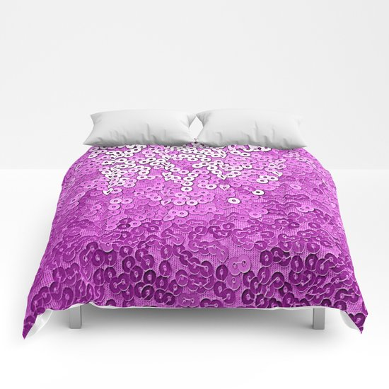 Fun Purple Sequins  Comforters