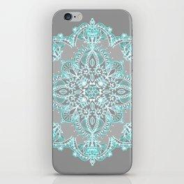 Teal and Aqua Lace Mandala on Grey iPhone Skin