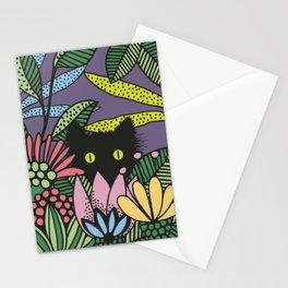 Cat in the Garden playing Hide and Seek Stationery Cards