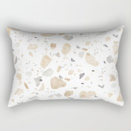 Terrazzo in Neutral - Tan Taupe Beige Gray Rectangular Pillow