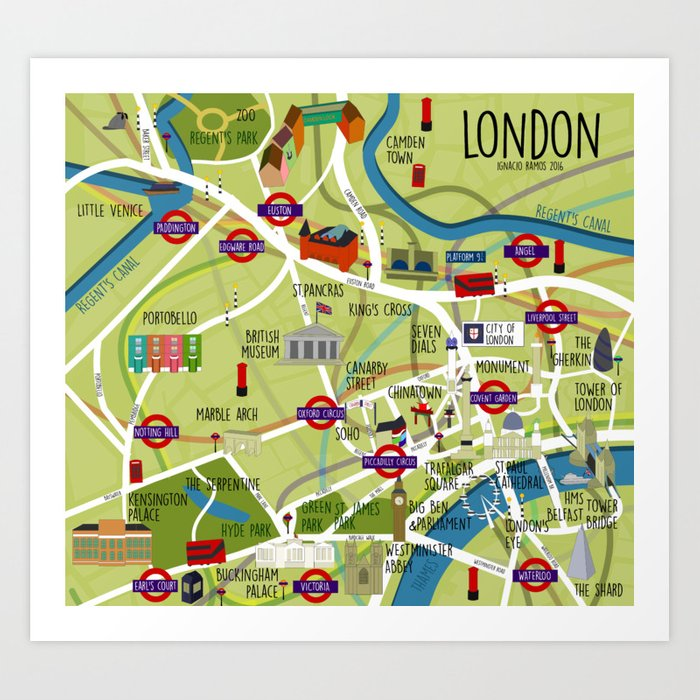 Angel London Map.London Map Illustrated Art Print By Irfaelo Society6