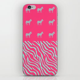 Pink zebra mix iPhone Skin