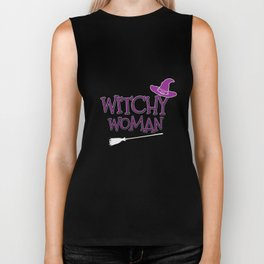 Funny Halloween Gift Witchy Woman Biker Tank