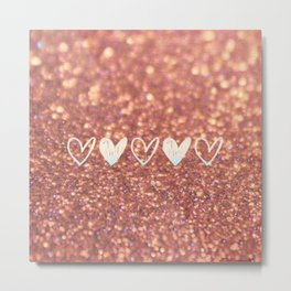 Glittered Hearts Metal Print