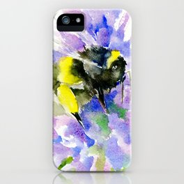 Bumblebee and Lavender Flowers, nature bee honey making decor iPhone Case